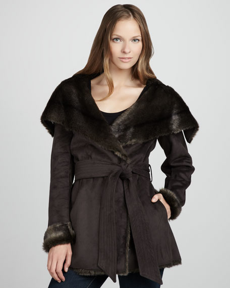 Belted Faux-Sherpa-Lined Coat