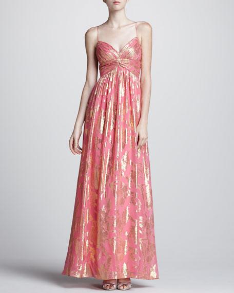Metallic-Print Gown