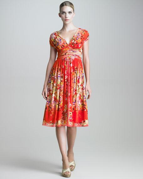 Printed V Neck Dress