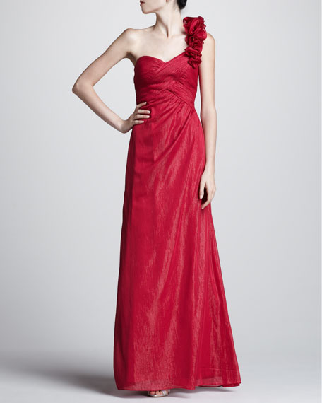 One-Shoulder Ruffle Sweetheart Gown