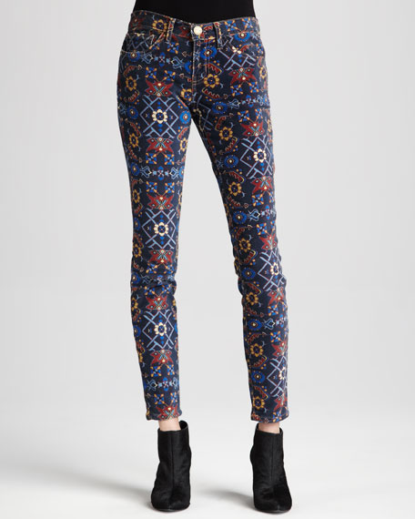 The Ankle Printed Skinny Jeans