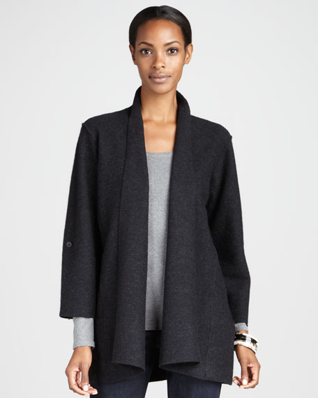 Lightweight Boiled Wool Coat, Charcoal