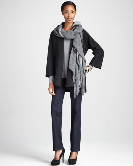 Lightweight Boiled Wool Coat, Charcoal, Petite