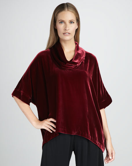 Velvet Cowl-Neck Top