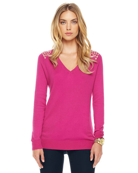 Grommet-Shoulder Sweater