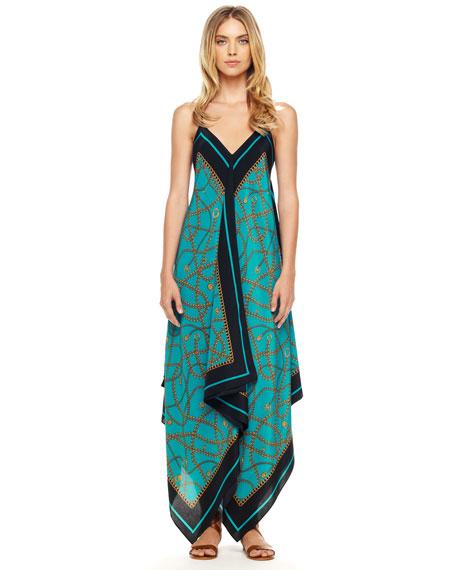 Scarf-Print Maxi Dress