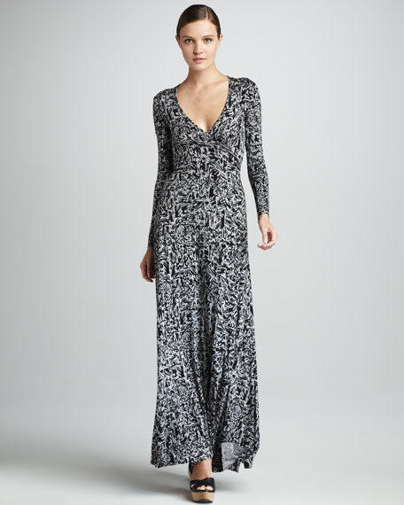 Print Wrapped Maxi Dress, Women's