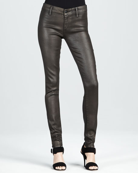 Skinny Dark Gold Metallic Jeans
