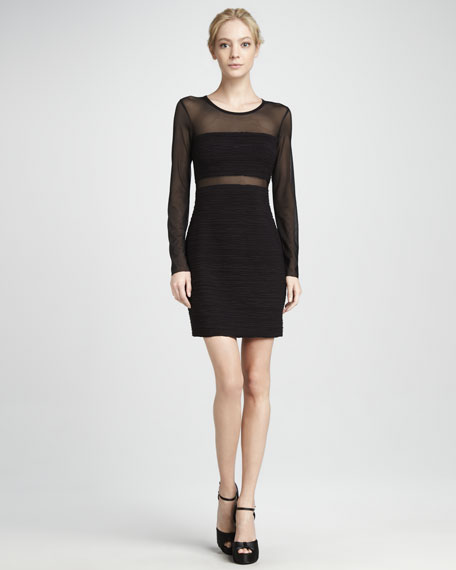 Venom Mesh-Top Ruched Long-Sleeve Dress