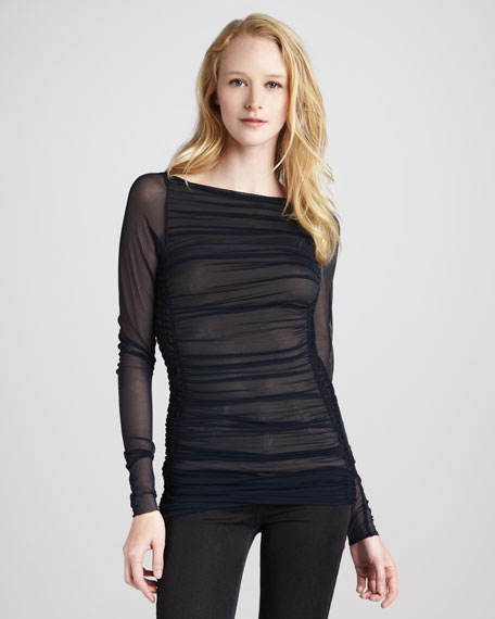 Ruched Mesh Long-Sleeve Top