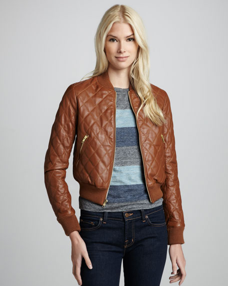 Dex Quilted Leather Bomber Jacket