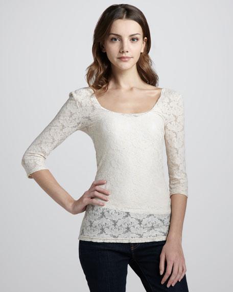 Sheer Lace Cross-Back Top