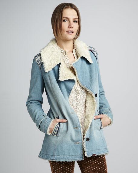 Faux Shearling-Lined Denim Coat