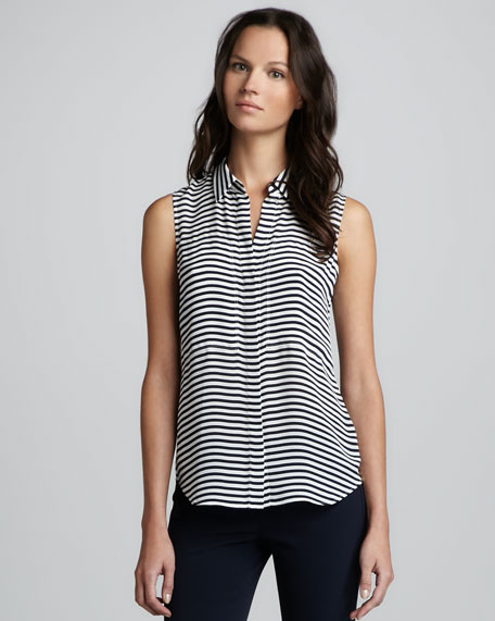 Duria Striped Sleeveless Blouse