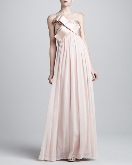 Strapless Structured Bow Gown