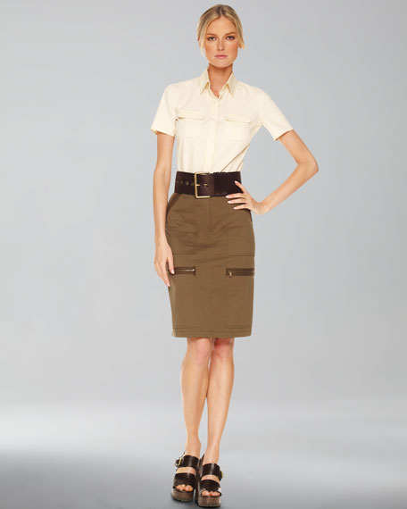 Stretch Twill Pencil Skirt