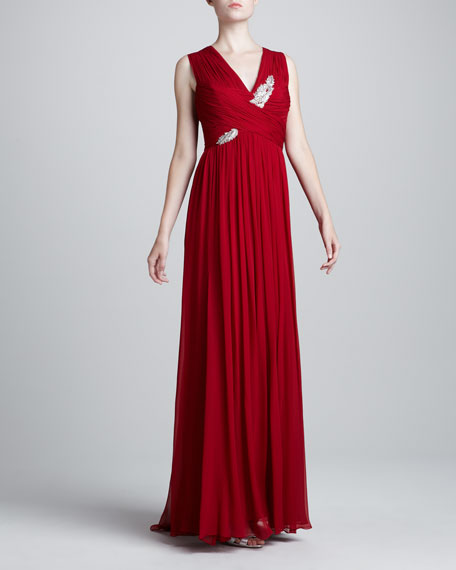 Sleeveless Embroidered Gown, Red