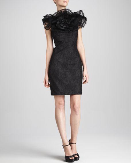 Tulle-Neck Silk Dress