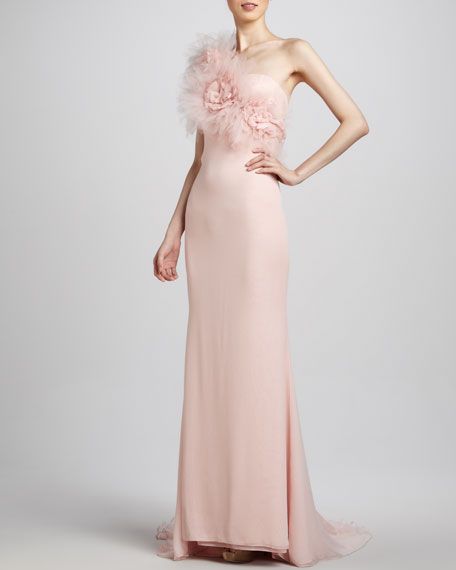 Tulle-Top One-Shoulder Gown