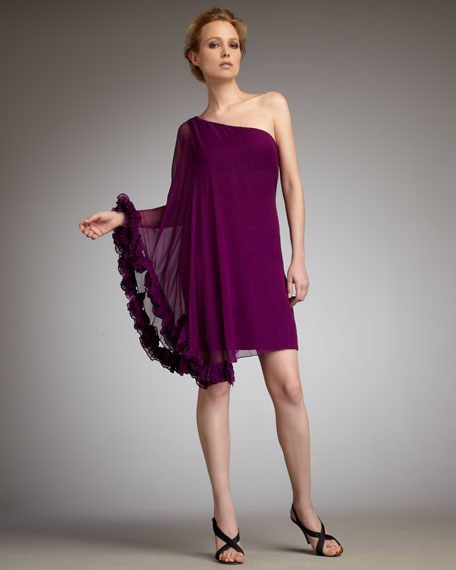 One-Sleeve Caftan Cocktail Dress