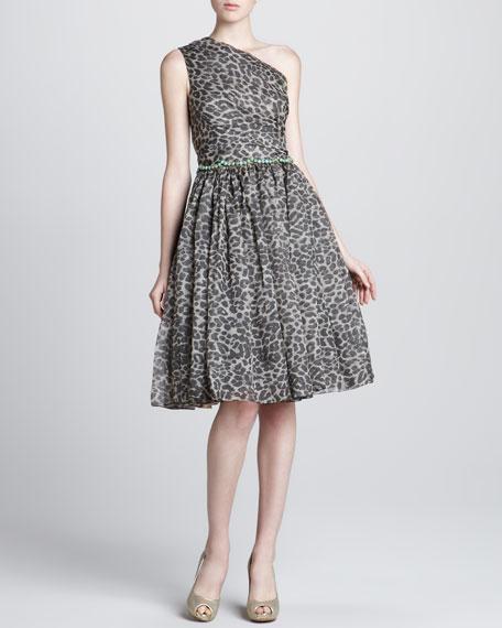 Leopard-Print Organza One-Shoulder Dress
