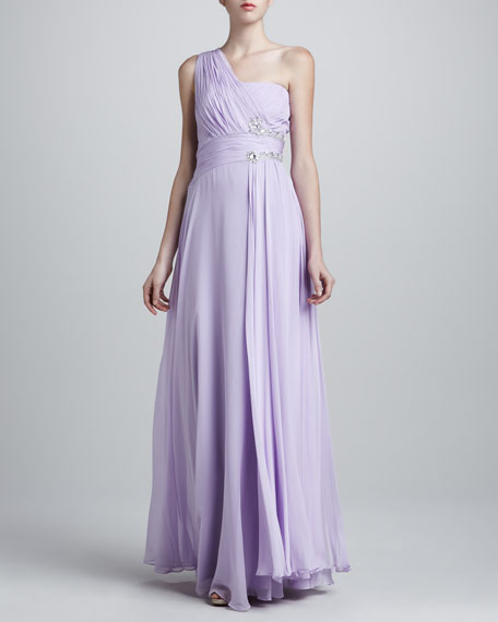 One-Shoulder Grecian Gown, Thistle