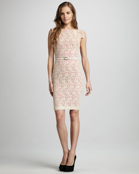 Victoria Fitted Belted Lace Dress