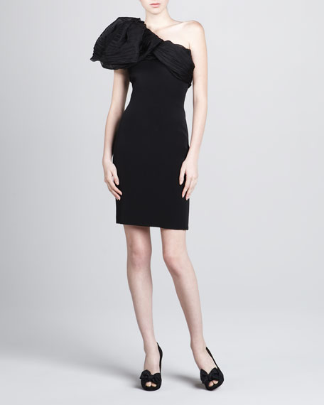 Organza-Top Fitted One-Shoulder Dress
