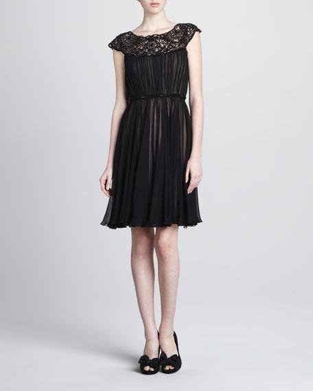 Bead-Neck Chiffon Dress
