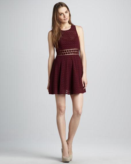 Daisy-Waist Lace Dress, Merlot