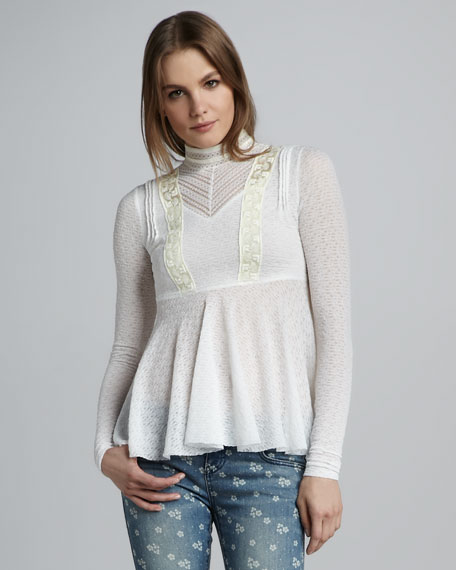Ruffled Patterned-Knit Top
