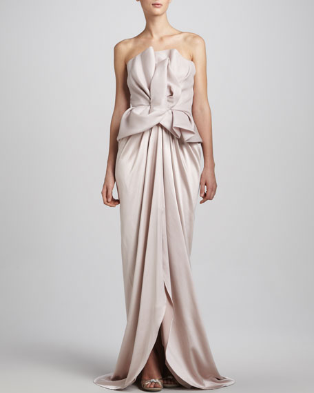 Structured Strapless Peplum Gown, Oyster Pink