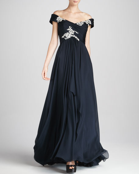 Embroidered Off-the-Shoulder Gown