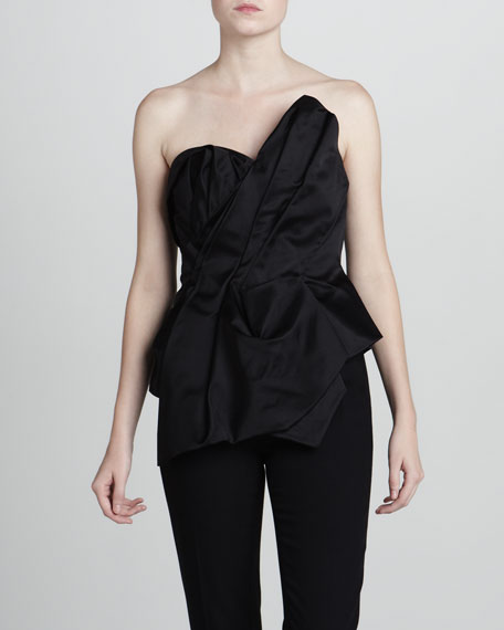 Asymmetric Sateen Bustier Top