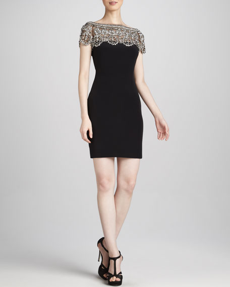 Bead-Lace Illusion Cocktail Dress