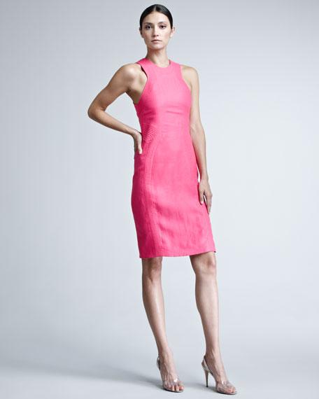 Rib-Trim Linen Dress