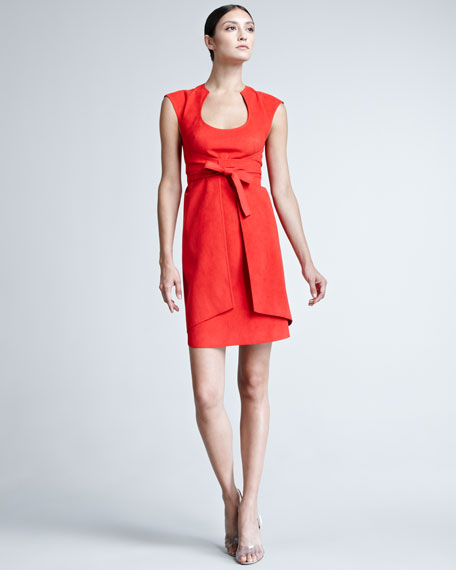 Suede Tie-Wrap Dress