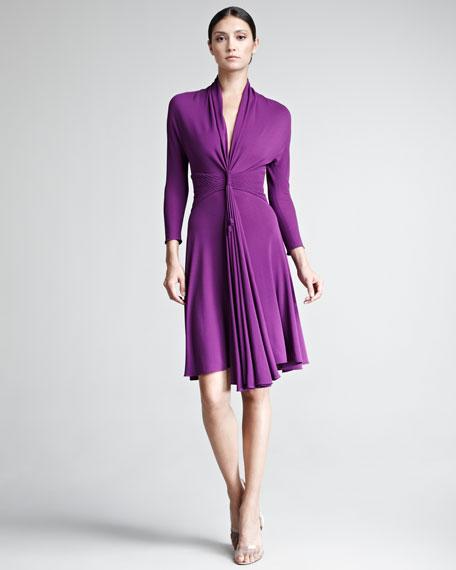 Plunge-Neck Jersey Dress