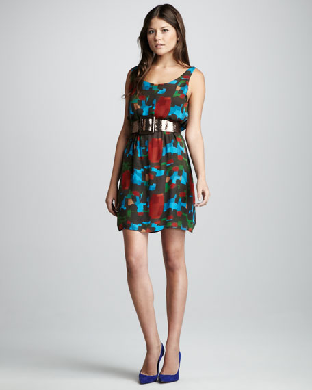 Maritza Printed Silk Dress