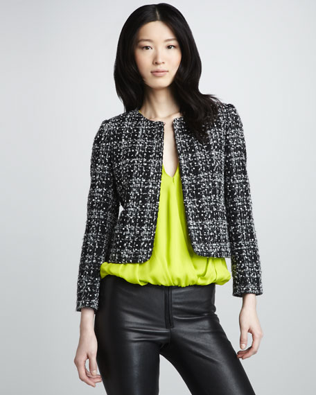Alanna Tweed Open-Front Jacket