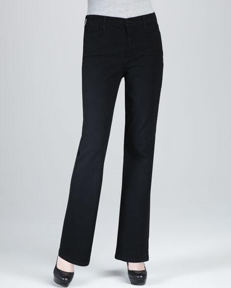 Nailhead Boot-Cut Jeans, Black