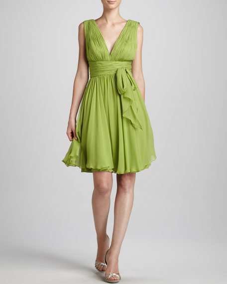 Ruched V-Neck Dress