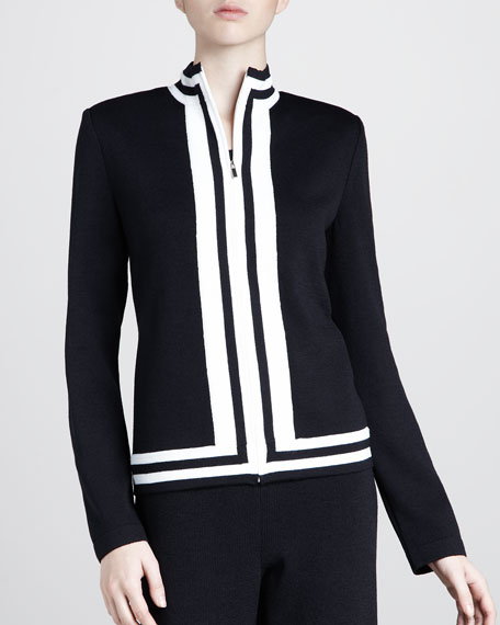 Satana Bomber Zip Jacket, Black/White