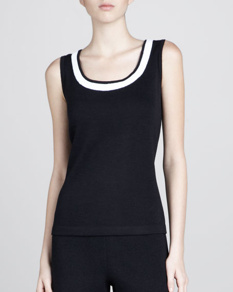 Santana Contrast-Neck Tank, Black/White