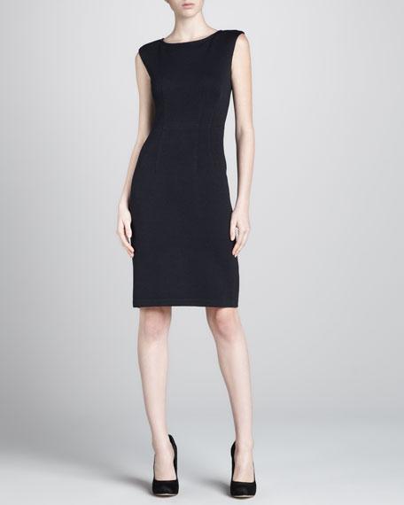 Santana Cap-Sleeve Sheath Dress, Black