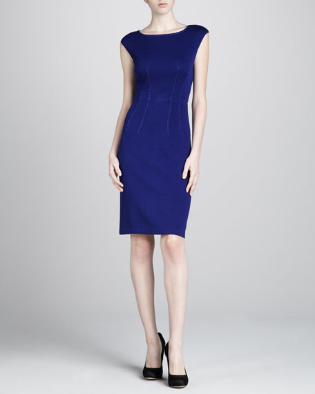 Santana Cap-Sleeve Sheath Dress, Cobalt