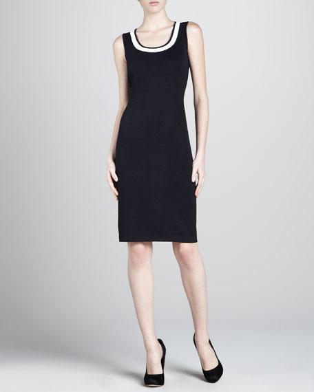 Santana Contrast-Trim Dress, Black/White