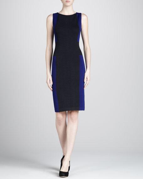 Cross Colorblock Dress, Cobalt/Black