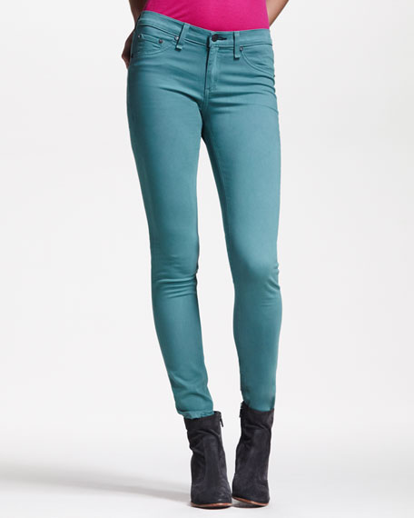 Cropped Stretch-Twill Leggings, Atlantic