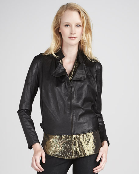 Crinkled Leather Tie-Hem Jacket